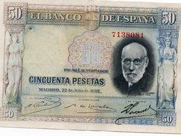 SPAIN= 1935    50  PESETAS    P-88    Aunc - [ 1] …-1931 : Prime Banconote (Banco De España)
