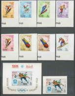 205b Manama MNH ** Mi N° 47 / 54 B + Bloc 3 Non Dentelé (imperforate) Jeux Olympiques (olympic Games) Grenoble 68 Hockey - Hiver 1968: Grenoble