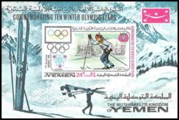 230 - Yemen Kingdom MNH ** Mi Bloc N° 105 B Non Dentelé (imperforate) Jeux Olympiques (olympic Games) GRENOBLE 68 Skiing - Winter 1968: Grenoble