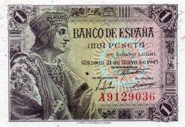 SPAIN= 1943    1  PESETA    P-126    UNC - [ 1] …-1931 : Primeros Billetes (Banco De España)
