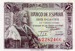 SPAIN= 1945    1  PESETA    P-128    UNC - [ 1] …-1931 : Primeros Billetes (Banco De España)