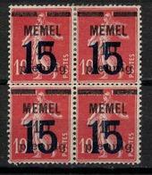 MEMEL       N°  YVERT  :    38 X 4       NEUF AVEC  CHARNIERES      (  CH  01/50 ) - Memel (1920-1924)
