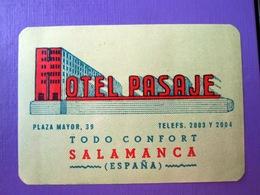 HOTEL ALBERGO PENSION MOTEL CAMPING FONDA PASAJE SALAMANCA SPAIN LUGGAGE LABEL ETIQUETTE AUFKLEBER DECAL STICKER - Hotel Labels