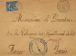 """1892/1896 - Env. Affr. N° 36 Oblit. CORR.D'ARMEES / FORT DE FRANCE +"""" BATTERIE-DETACHEE-MARTINIQUE """" - Martinique (1886-1947)"""