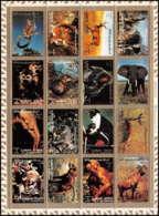 615 - Ajman - MNH ** Mi N° 2685 / 2700 A Bloc Animals Animaux Mammal Singes (singe Monkeys Guepard éléphants Singes - Ajman