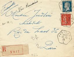 1926- Enveloppe RECC. De PARIS - 68 - A  Recette Auxiliaire  Hexag.  T P  Perforés M P S ( Man. Paris. De Scies ) - 1921-1960: Modern Period