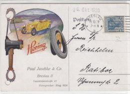 Werbekarte Mit Automobil, Reifen . .. Der Marke HERING Aus BRESLAU 19.10.20 Nach Ratibor / Aktenlochung - Alemania