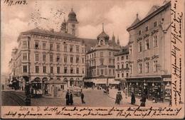 !  Alte Ansichtskarte 1903 Linz, Am Taubenmarkt, Geschäfte, Straßenbahn, Tram - Linz