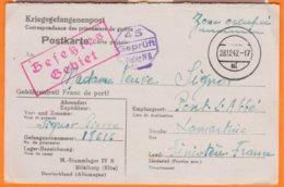 """Correspondance Prisonniers Guerre  45 Stalag IV B """" Zone Occupée """"  Le 28 12 1942  Num 18616  Pour PONT L'ABBE Finistere - Marcophilie (Lettres)"""