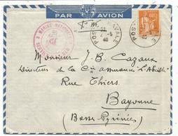 PAIX 80C SEUL LETTRE FM AVION POSTE NAVALE 2.5.1940  MENTION AU DOS CASABLANCA NAVAL POUR BAYONNE - 1932-39 Paix