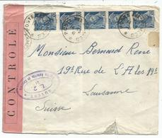 MERCURE 50C BLEU BANDE DE 5 POSTE AUX ARMEES 14.3.1941 POUR SUISSE CENSURE OUVERT L2 EN VIOLET - 1938-42 Mercurio