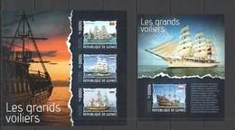 ST689 2014 GUINEE GUINEA TRANSPORT SHIPS LES GRANDS VOILIERS KB+BL MNH - Barche