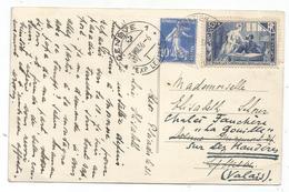 N°307+279 CARTE MONNETIER HAUTE SAVOIE 1936 POUR GENEVE TARIF FRONTALIER AFFRANCHISSEMENT RARE - Marcophilie (Lettres)