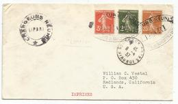 SEMEUSE 2C+3C+25C BISTRE LETTRE CHARGEURS REUNIS LIPARI + BORDEAUX 8.4.1937 POUR USA - 1906-38 Säerin, Untergrund Glatt