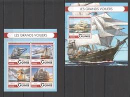 ST023 2016 GUINEE GUINEA TRANSPORT SHIPS TALL SHIPS 1KB+1BL MNH - Barche