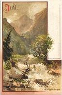 Illustration T. Guggenberger -  Monatsgruß Série II - Mois Juillet (Juli) Carte Dos Simple - Guggenberger, T.