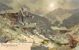 Illustration T. Guggenberger -  Monatsgruß Série II - Mois Décembre (Dezember) Carte Dos Simple - Guggenberger, T.
