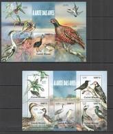 ST1222 2013 GUINE GUINEA-BISSAU FAUNA BIRDS IN ART ARTE DAS AVES 1KB+1BL MNH - Oiseaux