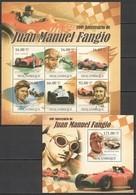 BC1023 2011 MOZAMBIQUE MOCAMBIQUE AUTO RACING 100TH ANNIVERSARY JUAN MANUEL FANGIO KB+BL MNH - Automobili