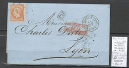 France -Lettre Constantinople Pour Lyon - 1867 - - Paquebot ERIDAN - Ancre + Paquebots Mediterrannée - Postmark Collection (Covers)