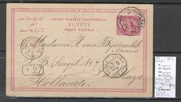 France -Entier Egypte - Port Said Pour La Haye - Pays Bas - 1892 - Ligne N Paq Fr No4 - Marcofilia (sobres)