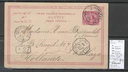 France -Entier Egypte - Port Said Pour La Haye - Pays Bas - 1892 - Ligne N Paq Fr No4 - Postmark Collection (Covers)