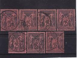 # Z.10888 France Republic 1877 - 80 Type II. 7 X Value 25 C. Used, Yvert 91, Michel 74: Pax & Mercur - 1876-1898 Sage (Tipo II)