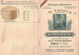 LIVRET FABRIQUE DE BOUCHONS AU LIEGEUR LIEGE J. PONTNEAU 47 AVENUE BOSQUET PARIS TARIF USINE A SOUSTONS LANDES - Publicités