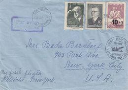 Finlande - Lettre De 1947 - Oblit Helsinki - 1er Vol Helsinki New York - - Covers & Documents