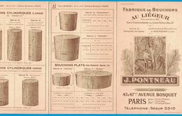 DEPLIANT 4 VOLETS FABRIQUE DE BOUCHONS AU LIEGEUR LIEGE J. PONTNEAU 47 AVENUE BOSQUET PARIS  USINE A SOUSTONS LANDES - Publicités
