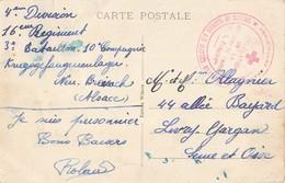 Marcophilie Cachet Guerre 1914 1918 Croix Rouge Délégation Region De Paris Prisonnier De Guerre Neuf Brisach 16 Regiment - Marcophilie (Lettres)