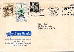 TCHECOSLOVAQUIE. N°1389 De 1965 Sur Enveloppe Ayant Circulé. J.O. De Paris/Tour Eiffel. - Summer 1900: Paris