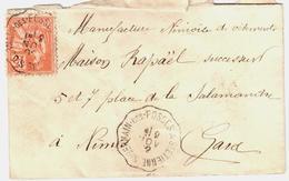 St GERMAIN DES FOSSES à St ETIENNE Lettre Convoyeur Type 2 Ob 9/11/ 1902 15 C Mouchon Yv 117 - Railway Post