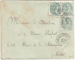 St GERMAIN DES FOSSES à St ETIENNE Lettre Convoyeur Type 2 Ob 16/11/ 1904 5 C Blanc Yv 111 - Railway Post