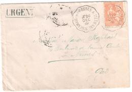 St GERMAIN DES FOSSES à St ETIENNE Lettre Convoyeur Type 2 Ob 20/12/ 1901 15 C Mouchon Yv 125 URGENT - Railway Post