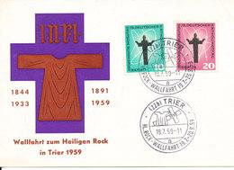 Germany Card Trier 19-7-1959 Wahlfahrt Zum Heiliegen Rock In Trier Deutscher Katholikentag Berlin Stamps (right Upper Co - [7] Federal Republic