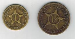Cuba 1-5 Centavos 1943 Lot. Brass, Used, See Scan, - Cuba