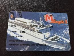 Hotelkarte Room Key Keycard Clef De Hotel Tarjeta Hotel  CABIN KEY MS MAGIC 1 With Casino On Back - Telefonkarten