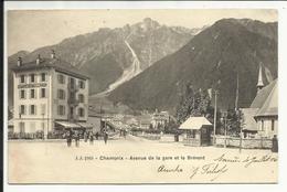 * CHAMONIX  , Avenue De La Gare Et Le Brévent , 1906 , CPA ANIMEE - Chamonix-Mont-Blanc