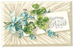 Cpa Fantaisie Heureuse Année Fleurs, Trèfles, Ruban, Gaufrée - Nouvel An