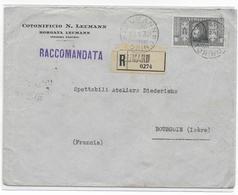 ITALIE - 1932 - DANTE 2.75 L RARE SEUL Sur LETTRE RECOMMANDEE De LEUMANN !! VILLAGE USINE (TORINO) => BOURGOIN (ISERE) - 1900-44 Vittorio Emanuele III