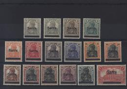 YT 1 à 14 + 15 + 17 YT Deutsches Reich 1905 à 1916 Barré Surcharge Sarre Charnières + Petit Défaut Sur N°3 - 1920-35 Sociedad De Naciones