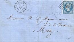 Marcophilie - 1867 -  Lettre De Rorbach Pour Metz , Càd  Type D7p Et  Losange GC 3205 ( L7 - 9 ) - 1849-1876: Classic Period