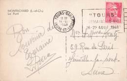 Marcophilie Gandon Cachet 1948 Tours Gare Indre Et Loire Semaine Du Vin 26 29 Aout Oblitération Mécanique Cote 18€ - Marcophilie (Lettres)