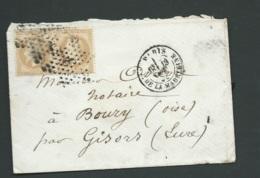 Yvert N° 28 A Paire Sur LSC Obl. étoile 3 Paris Place De La Madeleine 19/10/1868 ( Marque Héraldique Au Dos  Bpho 3105 - Marcophilie (Lettres)