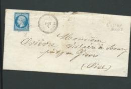 Yvert N°14 Sur Lsc Obli. Pc 379 Bessay Sur ALLIER ( Obli., Mal Venue ) 5/05/1862 Bpho 3109 - Marcophilie (Lettres)
