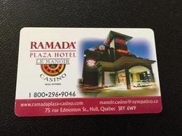 Hotelkarte Room Key Keycard Clef De Hotel Tarjeta Hotel   RAMADA PLAZA LE MANOIR CASINO HULL OTTAWA - Telefonkarten
