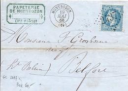 Marcophilie - 1868 -  Lettre De Montbozon  Pour Belfort , Càd  Type D7p Et  Losange GC 2437 . - 1849-1876: Classic Period