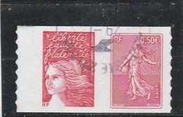 FRANCE 2003 ADHESIF OBLITERE PAIRE SEMEUSE DE ROTY - P3619 OU P36 OU 3619+3085      - - Oblitérés