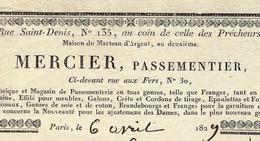 1829 PARIS MODE MERCIER PASSEMENTERIE  Rue St Denis Ci Devant Rue Des Fers Pour Carnat - 1800 – 1899